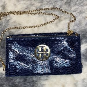 Tory Burch Blue Snakeskin Flap Chain Bag